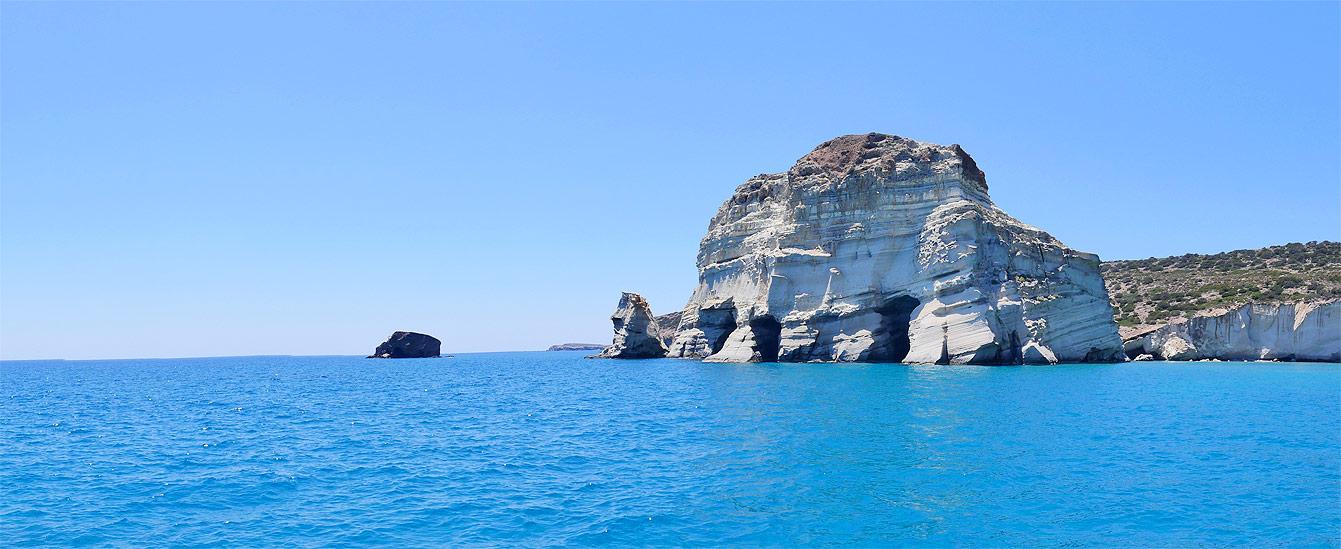 Milos : tour en bateau, falaise de Kleftiko